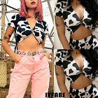 2019 Women Turn-down V-neck Short Sleeve Cow Pattern Top T-shirt Blouse UK