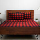 1500 Supreme Collection Buffalo Plaid Black Red 4 PC Microfiber Bed Sheet Set image