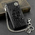 Mens Genuine Biker Leather Wallet Purse With Safe Pants Chain