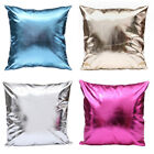 Faux Leather Throw Pillow Case Cover Shiny Solid Sofa Cushion Cover Home Decor