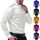 Formal Men Slim Fit Button-Down T Shirt Silk Satin Long Sleeve Dress Shirts Tops