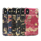 Army Camouflage Card Slots Leather Case Cover For iPhone 8 7 6 6s Plus XR XS Max