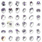 36 Styles Women Fashion Jewelry Purple Crystal Gemstone Silver Ring Size 6-10