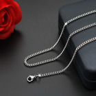 Man Women Stainless Steel 2mm/3mm/4mm/5mm Silver Curb Cuban Link Chain Necklace
