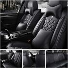 Car Seat Cover PU Leather 100 5 Seat SUV Cushions Set Front  Rear W Pillows US