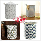 USA Laundry Basket Bag Foldable Cotton Linen Washing Clothes Hamper Storage Toys