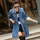 Women Long Sleeve Fashion Outwear Blue Denim Long Jeans Jacket Coat Plus Size