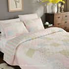 3PCS Cottage Country Floral 100% COTTON Patchwork Quilt Bedspread Coverlet Set image