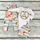UK 3PCS Newborn Baby Girl Clothes Tops Romper Flower Pants Headband Outfit 0-12M