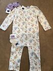 NWT Janie and Jack baby girl lavender floral romper sock bow SET 12 18 24 month