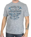 Harley-Davidson Mens Vital Freedom B&S Flames Grey Slub Short Sleeve T-Shirt image