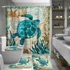 Sea Turtles Waterproof  Non-Slip Bathroom Shower Curtain Toilet Cover MatRug Set