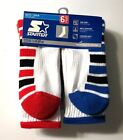 High Performance 6 Pair Boy's STARTER White Sport Crew Sock, Shoe Size L 3-9 .