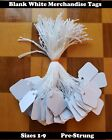 Pre-Strung Blank White Merchandise Price Tags Large Small Hang String Jewelry