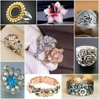 Exquisite Two Tone 925 Silver Floral Ring 14k Rose Gold Flower Wedding Jewelry image