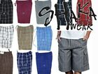 SHAKA MENS CASUAL CARGO SHORTS PLAID SHORTS LOOSE FIT CHECKERED HIP HOP SHORTS <br/> BUY 2 OR MORE GET 10% DISCOUNT ON EACH