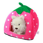 Pet Foldable House Strawberry Cave Sleep Bed Cat Dog Tent Kennel Puppy Soft Mat