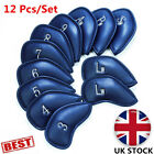 Golf Iron Head Covers PU Leather 12 Pcs Velco Club Headcovers Protect Set Golfer