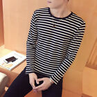 Hoiliday Tops T-Shirt Fashion Male Round Neck Sleeve Stripe Casual Polyester
