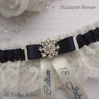 Personalised Wedding Garter. Ivory/White lace with navy satin trim & diamante