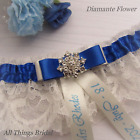 Personalised Wedding Garter. Ivory/White lace, royal blue satin trim & diamante