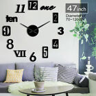 Modern Numbers Giant Big DIY Large Frameless Wall Clock with Mirror Effect