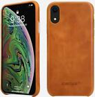 iPhone XR 6.1''Leather Slim Shell Snap-On Cases W/Protective Silver Side Buttons