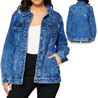 Women  s Premium Casual Faded Distressed Denim Jean Button Up Cotton Jacket