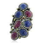 15.04 ct Sapphire Ruby 18kt Gold Pave Diamond Ring .925 Sterling Silver Jewelry