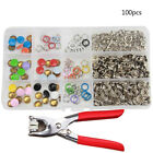 100x DIY Grommets Snap Fasteners Kit Leather Rivets Buttons Press Studs 9.5mm CX