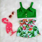 US Toddler Kids Baby Girls T-shirt Vest Tops + Shorts Outfits Summer Clothes Set