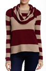Cullen Cashmere Stripe Off-the-Shoulder Sweater Wood Combo NWT $300