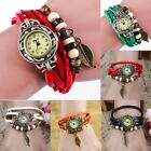 Brown Retro Weave Wrap Lady Bead Leaf Dangle Bracelet Bangle Quartz Wrist Watch image