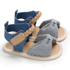 US Newborn Infant Baby Girl Bow-Knot Sandals Summer Moccasin Shoes 1st Prewalker