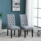 2/4/6Pcs Dining Chairs Armchair High Back Upholstered Fabric Wood Leg Grey/Beige