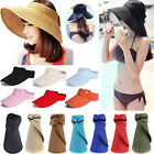Portable Foldable Summer Sun Cap Visor Beach Straw Hat Empty Top Ponytail Women