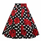 Dresstore Vintage Pleated Skirt Floral A-Line Printed Midi Skirts With Pockets