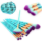 12X Unicorn Kabuki Makeup Brush Set Cosmetic Foundation Powder Brushes Tool Blue