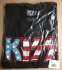 KISS Shirt American Flag Logo Rock Band Black Licensed Tee Size Small-2XL image