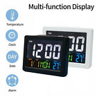 LCD Digital Car Home Office Desk Alarm Clock Colorful Thermometer Calendar