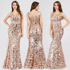Womens Long Sequins Fishtail Celebrity Prom Gowns Formal Evening Party Dresses