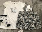 NWT Janie and Jack girl SUMMER black white 4-piece floral bow sock SET 18 24 3 4