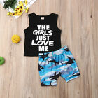 US Stock Baby Boy Clothes Cotton Vest Tops Shark Shorts Outfits Set 0-3T Summer
