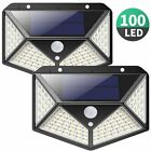 1/2/4 100LED Solar Power Wall Light Motion Sensor Waterproof Outdoor Garde