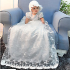 Vintage Baby Girls Christening Gown Lace Short Sleeve Baptism Long Dress Gown