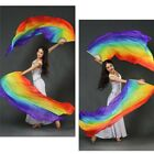 Stage Performance Props Dance Silk Fans Long Rainbow Belly Dance Veils Fans P