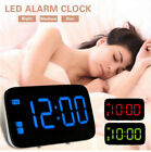 LED Digital Alarm Large Backlight USB Snooze Clock Voice Control Table Top Alarm