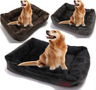 SOFT WRAX LEATHER WASHABLE PET DOG WARM BASKET BED WITH FLEECE COSY FUR GIFT