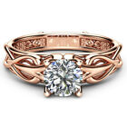 Charm Rose Gold Filled Rings for Women Jewelry White Sapphire Size 6-10 image