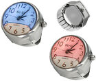 Women Floating Liquid White Face Finger Ring Watch w/ Expansion Stretch Band image